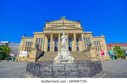 Berlin, Germany - May 5, 2019 - The Gendarmenmarkt square in Berlin, Germany which houses the Berlin Concert Hall (Konzerthaus) and the French and German Churches.