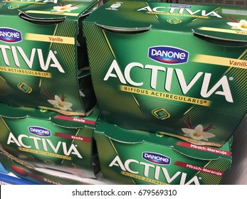 Berlin, Germany - May 6, 2017: Activia yogurt. Activia is a brand of yogurt owned by Groupe Danone (The Dannon Company in the United States)