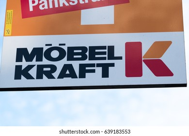 Berlin, Germany - May 7, 2017: Mobel Kraft logo. Möbel Kraft AG is a retail company in the furniture industry. The company is based in Bad Segeberg, Schleswig-Holstein
