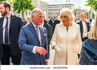 BERLIN, GERMANY - MAY 7, 2019: Charles, Prince of Wales and Camilla, Duchess of Cornwall, in front of Brandenburg Gate