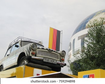 BERLIN, GERMANY - MAY 9,2016: Trabi World Museum of Classic Vintage Cars Outdoor View. Retro German Trabbis Car Close Up Image Exterior. Summer Scene with Empty Sky Background and Blank Copy Space.