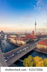 Berlin, Germany, Mitte Skyline at sunset with Alexanderplatz TV Tower. This image is toned