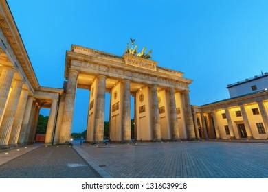 Berlin Germany, night city skyline at Brandenburg Gate (Brandenburger Tor)