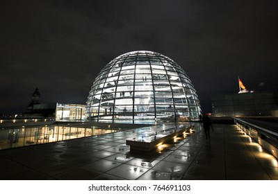 BERLIN, GERMANY - NOV 06,2016: Dome on the roof of the Reichstag at night, Berlin.