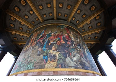 BERLIN, GERMANY - NOV 06,2016: The Victory Column in Berlin. It is a monument on the center of Berlin in the Tiergarten. A round colonnade with a glass wall mosaic made in 1876 by the Venetian company