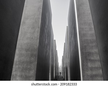 BERLIN, GERMANY - NOV 12: Memorial to Murdered Jews of Europe (Holocaust Memorial) on November 12, 201 in Berlin, Germany. The memorial was dedicated in May 2005 and was designed by Peter Eisenman.