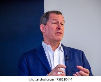 BERLIN, GERMANY - NOV 13, 2017: NetApp Chief Technology Officer Mark Bregman makes speech at NetApp Insight 2017 conference in Berlin, Germany on Nov 13, 2017.