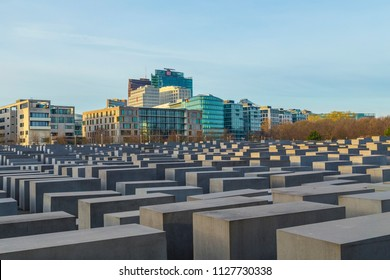 BERLIN, GERMANY - NOV 17, 2014: View of Jewish Holocaust Memorial in Berlin, Germany. Peter Eisenman createt the monument in 2006.
