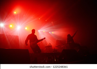 Berlin, Berlin / GERMANY November 04 2018: The Browning, metalcore and Trancecore band  from Kansas City, Missouri, giving a concert at Huxleys Neue Welt Club in Berlin.