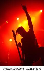 Berlin, Berlin / GERMANY November 04 2018: Attila, metalcore and Trancecore band from Atlanta, Georgia, giving a concert at Huxleys Neue Welt Club in Berlin.