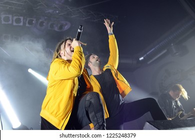 Berlin, Berlin / GERMANY November 04 2018: Eskimo Callboy, metalcore and Trancecore band formed in Castrop-Rauxel germany, giving a concert at Huxleys Neue Welt Club in Berlin.