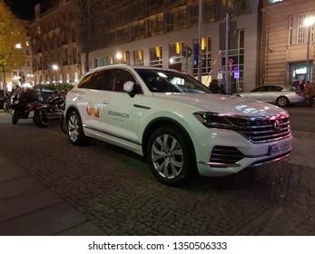 Berlin, Berlin / Germany - November 08, 2018: Volkswagen Touareg with GQ Branding