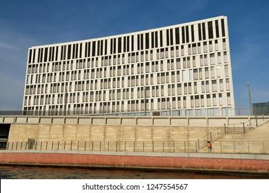 Berlin, Germany - November 10, 2018. PWC office building along Spree river in Berlin.
