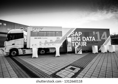 BERLIN, GERMANY - NOVEMBER 11, 2014: SAP Big Data demo truck stands near Messe Berlin Entrance South at SAP TechEd 2014 conference on November 11, 2014 in Berlin, Germany.