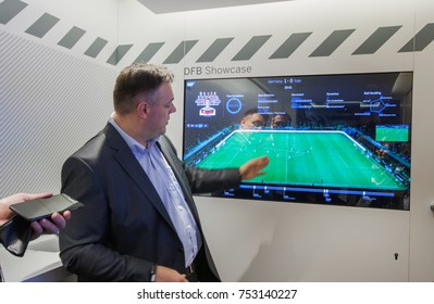BERLIN, GERMANY - NOVEMBER 11, 2014: SAP Vice President Rolf Schumann talks how Big Data software helps German football team at SAP TechEd 2014 conference on November 11, 2014 in Berlin, Germany