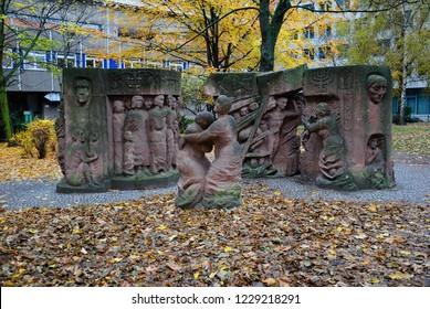 "Berlin, Germany - November 11, 2018 - ""Block der Frauen"" Memorial by Ingeborg Hunzinger, commemorating the Rosenstrasse protest in Berlin during February and March 1943"