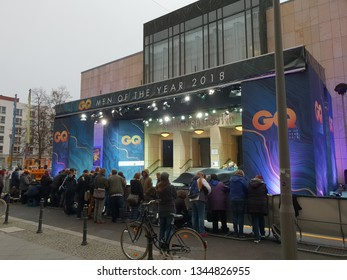 Berlin, Berlin / Germany - November 11, 2018: People gather outside the Komische Oper Berlin waiting for celebrities to arrive at the GQ Men of the Year 2018 event.