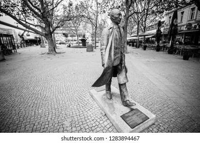 BERLIN, GERMANY -  NOVEMBER 12, 2014:  Monument of the first German chancellor Konrad Adenauer created by Helga Tiemann in Berlin, Germany on November 12, 2014.