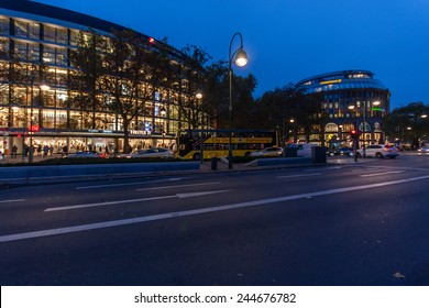 BERLIN, GERMANY - NOVEMBER 12, 2014: The shopping street Kurfuerstendamm over night illumination in Berlin, Germany on November 12, 2014.