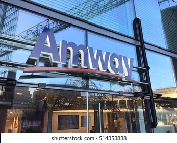 Berlin, Germany - November 12, 2016: Amway store. It is an American company that uses a multi-level marketing model to sell a variety of products, primarily in the health, beauty and home care markets