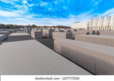 Berlin, Germany - November 12, 2018: Panoramic view of Memorial to the Murdered Jews of Europe.