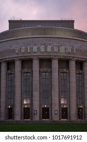 BERLIN, GERMANY - NOVEMBER 13, 2017: the Volksbühne ('People's Theatre') photographed from Rosa-Luxemburg-Platz.  A key landmark in east Berlin.
