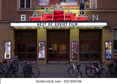BERLIN, GERMANY - NOVEMBER 13, 2017: the Babylon cinema entrance photographed from Rosa-Luxemburg-Platz in the Mitte district of Berlin.  The Babylon is one of Berlin's best-known arthouse cinemas.