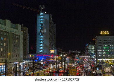 BERLIN, GERMANY - NOVEMBER 13, 2018: Night Karl Liebknecht street close to Alexanderplatz square. Berlin is the capital and German largest city by both area and population.