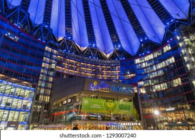 BERLIN, GERMANY - NOVEMBER 13, 2018: Night inside view on the spectacular Sony Center on Potsdamer Platz. It is a Sony sponsored building complex designed by Helmut Jahn.