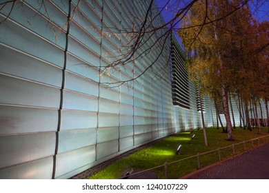 Berlin, Germany - November 15, 2018: The Nordische Botschaften - Nordic Embassies - at night. In one building, are located the embassies of the northern Europe countries, Sweden, Norway, Finland...