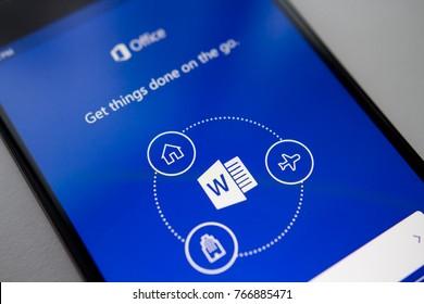Berlin, Germany - November 19, 2017: Microsoft Word application on screen modern smartphone. Microsoft office on mobile phone