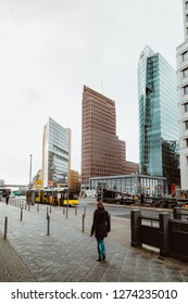 Berlin, Germany - November 2017: Potsdamer Platz is an important public space and the financial center of the capital of Germany Berlin