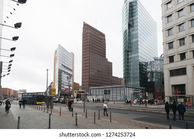 Berlin, Germany - November 2017: Potsdamer Platz the financial district of the capital of Germany