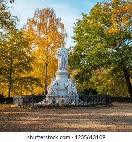 Berlin, Germany - november 2018: Statue of famous poet Johann Wolfgang von Goethe in a park near Brandenburg gate.  Berlin, Germany