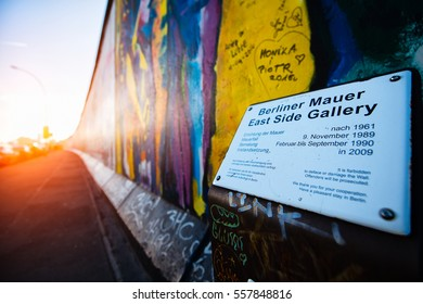 Berlin , Germany - November  28, 2016: East Side Gallery Berlin Wall international memorial to freedom.