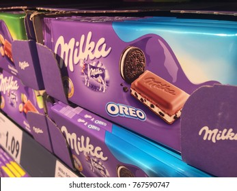 Berlin, Germany - November 30, 2017: Milka Oreo chocolate. The Milka Oreo Big Crunch Bar has a single, thick layer of Oreo cookie wafer at its core, surrounded by two thinner layer of Oreo Creme