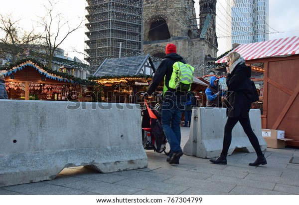 Berlin, Germany - November 30, 2017: Concrete barriers in front of the Berlin Christmas market