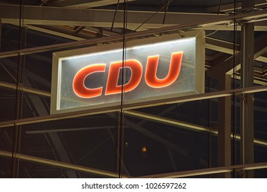 Berlin, Germany - November 30,2017:Logo of the Christian Democratic Union at its federal office