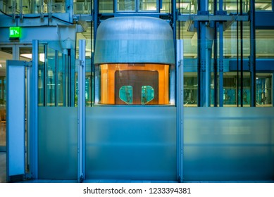 BERLIN, GERMANY - NOVEMBER 5, 2018: Lifts and architectural details of the futuristic Ludwig Erhard Haus