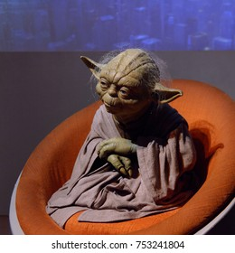 BERLIN, GERMANY - OCT 1, 2017: Master Yoda, affilation Jedi OrderStar Wars area, Madame Tussauds  Berlin wax museum.