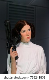 BERLIN, GERMANY - OCT 1, 2017: Princess Leia Organa, affilation Imperial Senate, Rebel Alliance, Star Wars area, Madame Tussauds  Berlin wax museum.