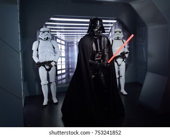 BERLIN, GERMANY - OCT 1, 2017: Darth Vader, Star Wars area, Madame Tussauds  Berlin wax museum.