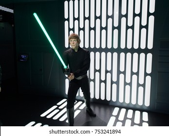 BERLIN, GERMANY - OCT 1, 2017: Luke Skywalker, affilation Jedi Order, Rebel Alliance, Star Wars area, Madame Tussauds  Berlin wax museum.