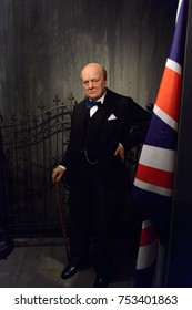 BERLIN, GERMANY - OCT 1, 2017: Sir Winston Leonard Spencer Churchill, was a British statesman, army officer and writer, Madame Tussauds  Berlin wax museum.