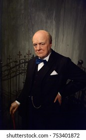 BERLIN, GERMANY - OCT 1, 2017: Sir Winston Leonard Spencer Churchill, was a British statesman, army officer and writer, Madame Tussauds  Berlin wax museum.