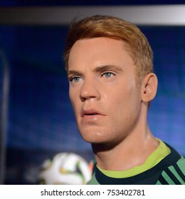BERLIN, GERMANY - OCT 1, 2017: Manuel Neuer,a German professional footballer, goalkeeper and captain for the Bundesliga club Bayern Munich and the Germany national team, Madame Tussauds  Berlin