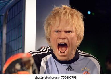 BERLIN, GERMANY - OCT 1, 2017: Oliver Kahn, the Bayern Munich former goalkeeper, Madame Tussauds  Berlin wax museum.