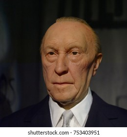 BERLIN, GERMANY - OCT 1, 2017: Konrad Hermann Joseph Adenauer, the first Chancellor of the Federal Republic of Germany, Madame Tussauds  Berlin wax museum.