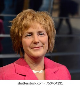 BERLIN, GERMANY - OCT 1, 2017: Angela Dorothea Merkel, a German politician as Chancellor of Germany, Madame Tussauds  Berlin wax museum.