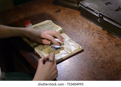 BERLIN, GERMANY - OCT 1, 2017: Anne Frank writes her diary, Madame Tussauds  Berlin wax museum.